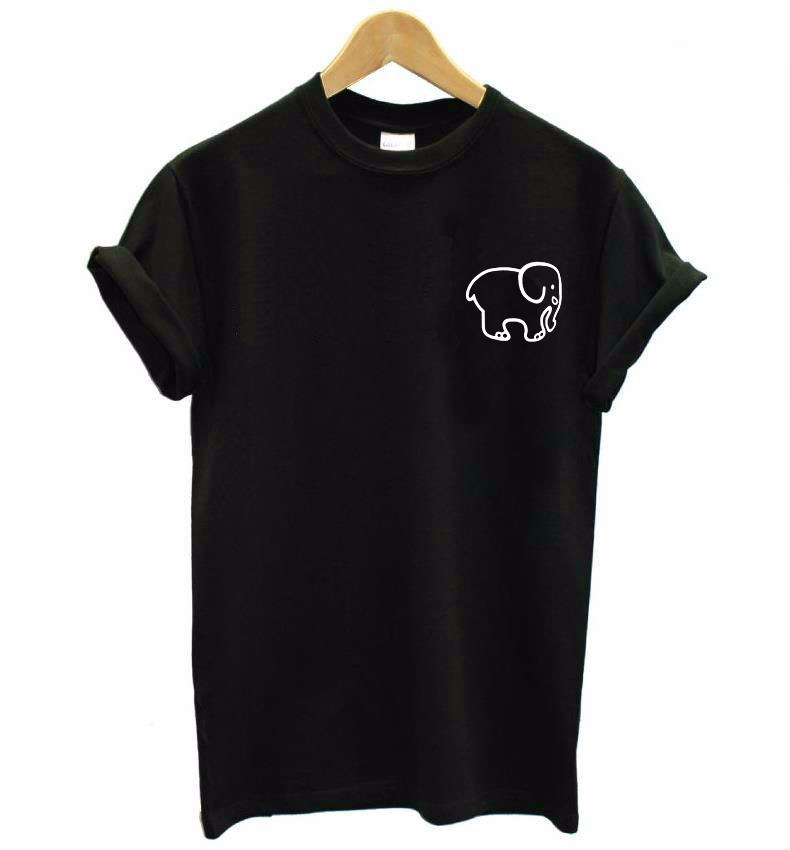 small elephant pocket Print <font><b>Women</b></font> <font><b>tshirt</b></font> <font><b>Cotton</b></font> Casual Funny t shirt For Lady Top Tee Hipster Drop Ship F581 image