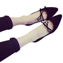 black grey Sweet Women bowknot Slip-on bowtie ventilation pointly solid shallow skinny breathable cusp flats Roman shoes