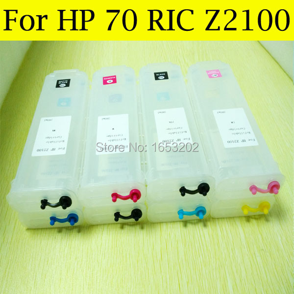 HOT Sell  For HP70(8 pcs) Refill Ink Cartridge For HP Designjet Z2100 2100 Printer With FOR HP 70 Ink Cartridge hp711 printing ink refill kit 4color 1000ml for hp designjet t520 t120 printer