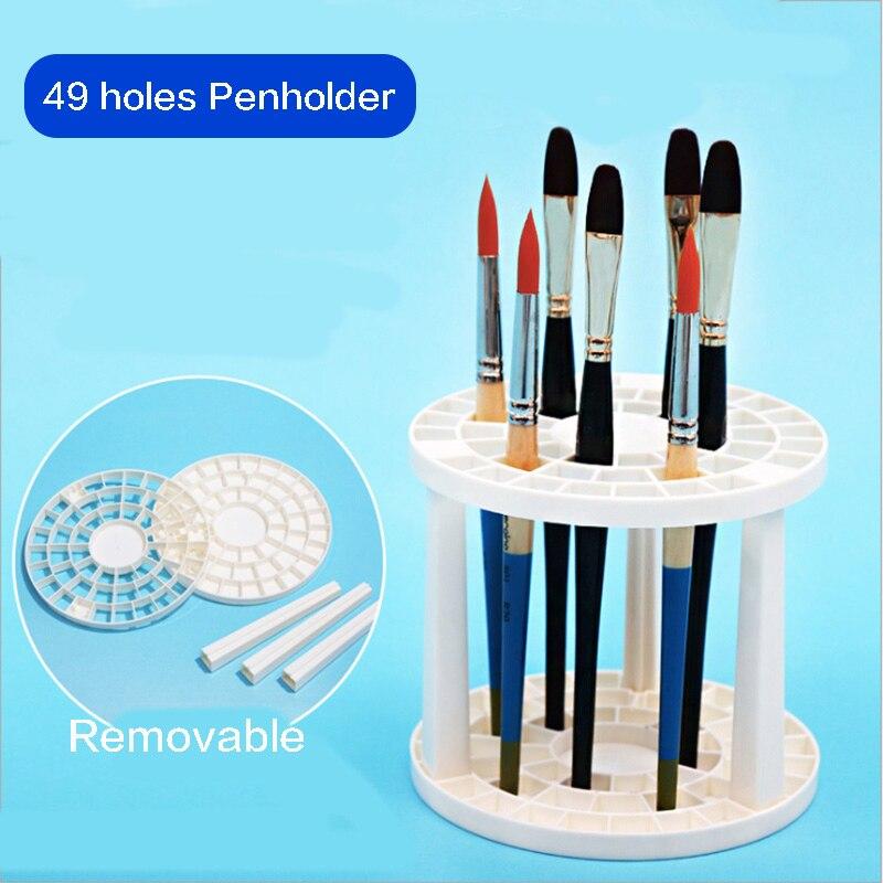 Paint Brush Pen Holder 49 Holes Pen Rack Display Stand Support Holder Painting Brush Pen Holder For Drawing Art Supplies