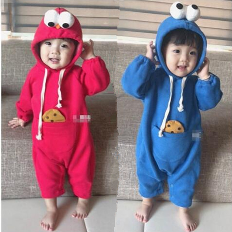 Baby Sesame Street Big Eyes Hooded Climbing Cosplay Costume Children Cute Plus Velvet Siamese Kids Newborn Party Supplies