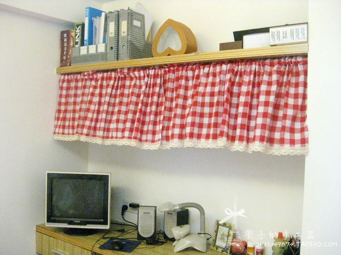 Free shipping red plaid lace country rustic kitchen curtains for ...
