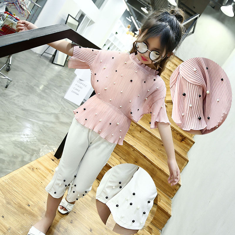 chiffon beading teenage little girls clothes 2pcs suit children girls clothing sets pink red blouses white black pants girls set