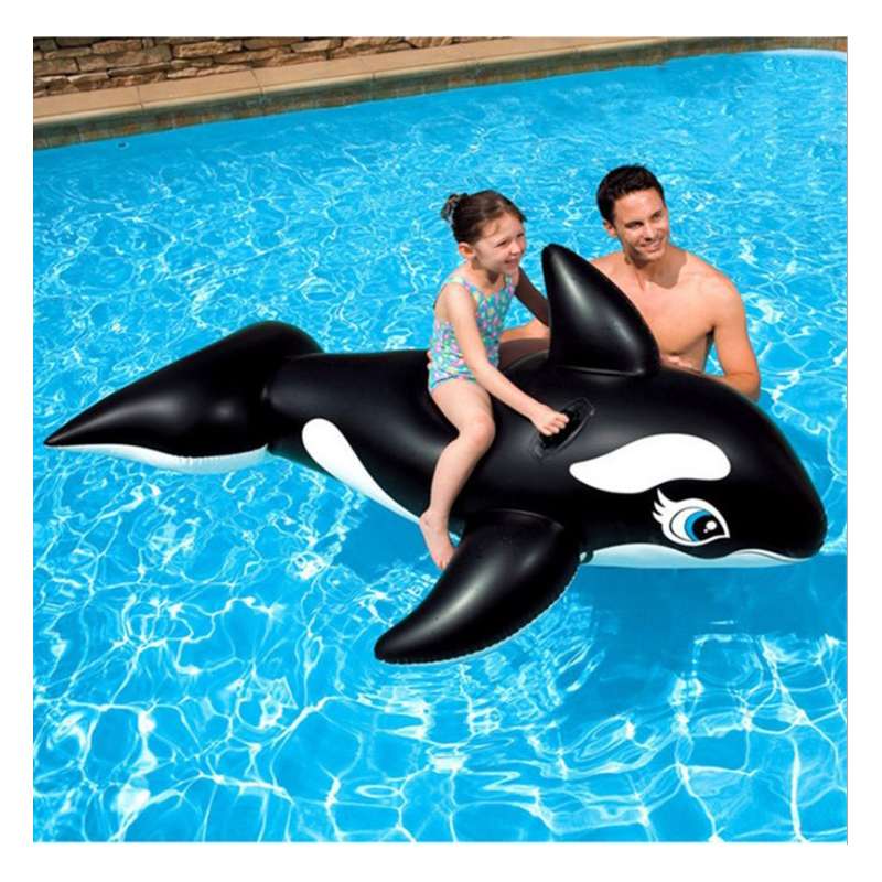 New 190CM eco-friendly PVC black whale Inflatable air mattress Floating Adult Pool Party Toys Water Bed Swimming Ring Circle цена