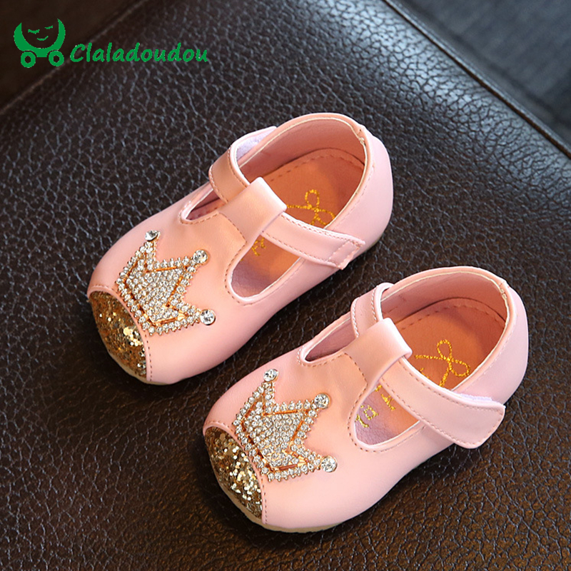 Claladoudu Baby Girl Shoes Crystal Infant Newborn Dress Shoes For Children Princess Girls Soft First Walkers Insole 10.5 15CM