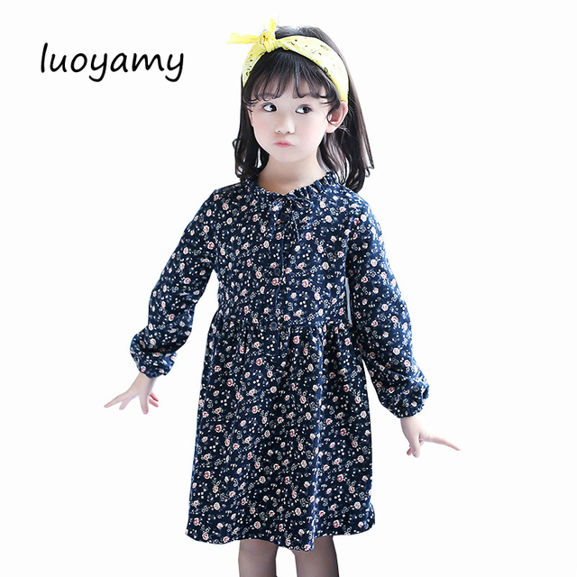 luoyamy Spring Summer Girls Cute Tie Dress Kids Bow Graduation Gowns  Children Clothing Baby Floral Dresses 79a7f9a5e918