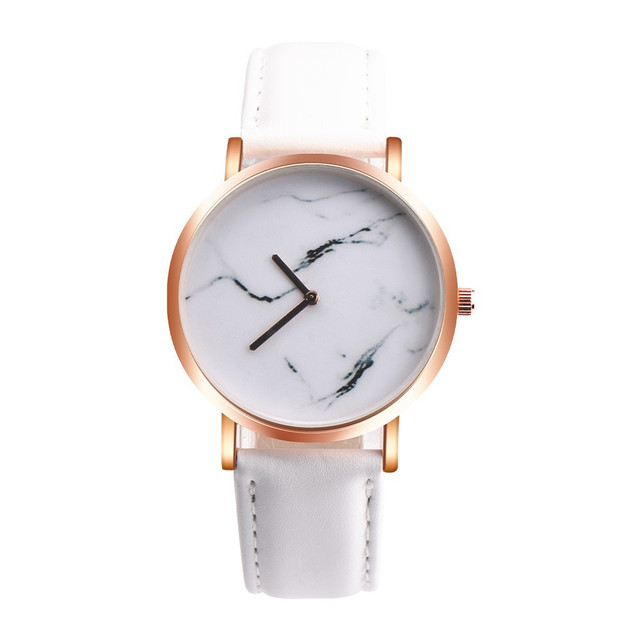 Marble Dial Women Quartz Wristwatch Simple Style Watches Minimal Leather Ladies