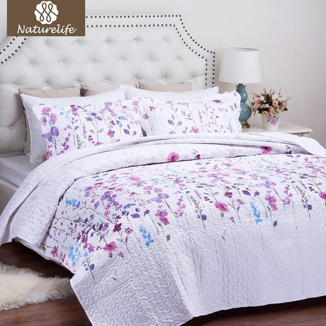 Naturelife Blumenmuster Quilt Set Bettdecke Bettdecke Stepp