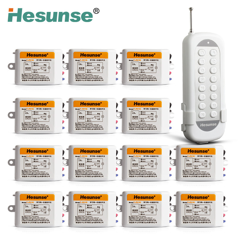Y-F211B1N14 220V 14 Channels 433mhz Wireless RF Remote Control Switch Learning Code Switch Through Walls 110V Can Be Customized