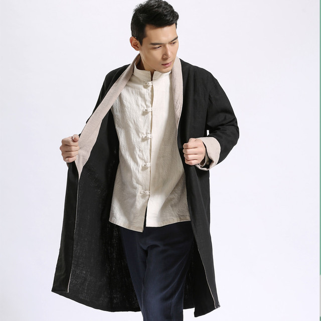 2017 spring autumn men trench coat china style long cardigan coat cotton high quality linen retro double color cloak jacket A209