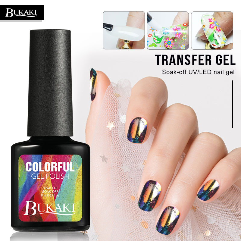 BUKAKI Transfer Gel Soak-off UV/LED Nail Star Starry Sky Nail Polish Stickers French Manicure Glue For Nail Foils Tools