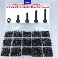 DIN912 Alloy Steel Black Screw and Nuts 500 pcs Grade 12.9 Black M3 M4 M5 Inner Hex Socket Head Cap Screws Assortment Set Kit