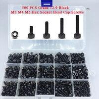 DIN912 Alloy Steel Black Screw and Nuts 500 pcs Grade 12.9 Black M3 M4 M5 Inner Hex Socket Head Cap Screws Assortment Set Kit