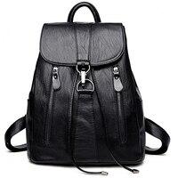 AUAU Leather Backpack Woman Fashion Female Backpack String Bags Large Capacity School Bag