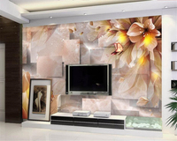 Beibehang Custom Wallpaper 3D Stereo Fantasy Flower Butterfly Flower TV Background Wall Living Room Sofa Background