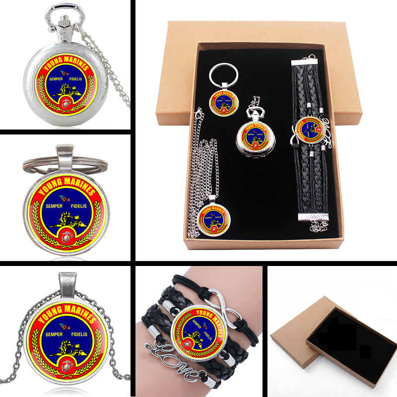 United States Young Marines Semper Fidelis Jewelry Gift Set Have Pocket Watch , Pendant Necklace , Key Chain, Bracelet With Box