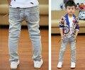 Nova primavera verão 2017 adolescentes crianças jeans crianças calças grandes calças de brim menino moda jeans calças calças cintura elástica frete grátis