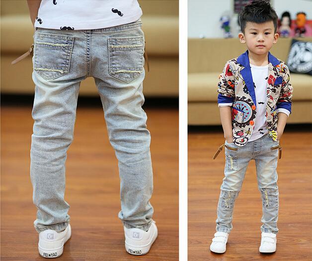 Nueva primavera 2017 verano adolescente niños niños jeans pantalones big boy pantalones vaqueros de mezclilla de moda pantalones de cintura elástica envío libre