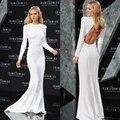 Beyonce Vestidos de Celebridades Vestido Formal Branco Sexy Aberto Manga Longa de Volta Vestidos de Celebridades Elegantes Mulheres Festa À Noite Vestido PF245