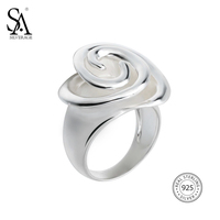SA SILVERAGE Real 925 Sterling Silver Rose Wedding Rings Flower