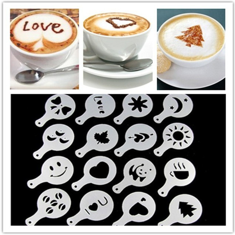16Pcs/Set Fancy Coffee Printing Template Kitchen Tools Kitchenware Coffee Spray Template Kitchen Gadgets Kitchen Accessories. Q