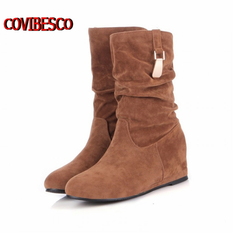 ФОТО Woemn Winter knee high boots The Most Flattering Warm Knee Length suede leather Snow Boots with High Quality for lady shoes