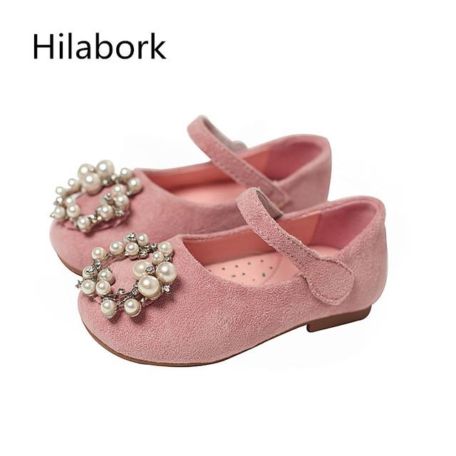 2017 primavera novas crianças sapatos meninas sapatos de couro pequena princesa pérola crianças flash de perfuração de moda boca rasa sapatos