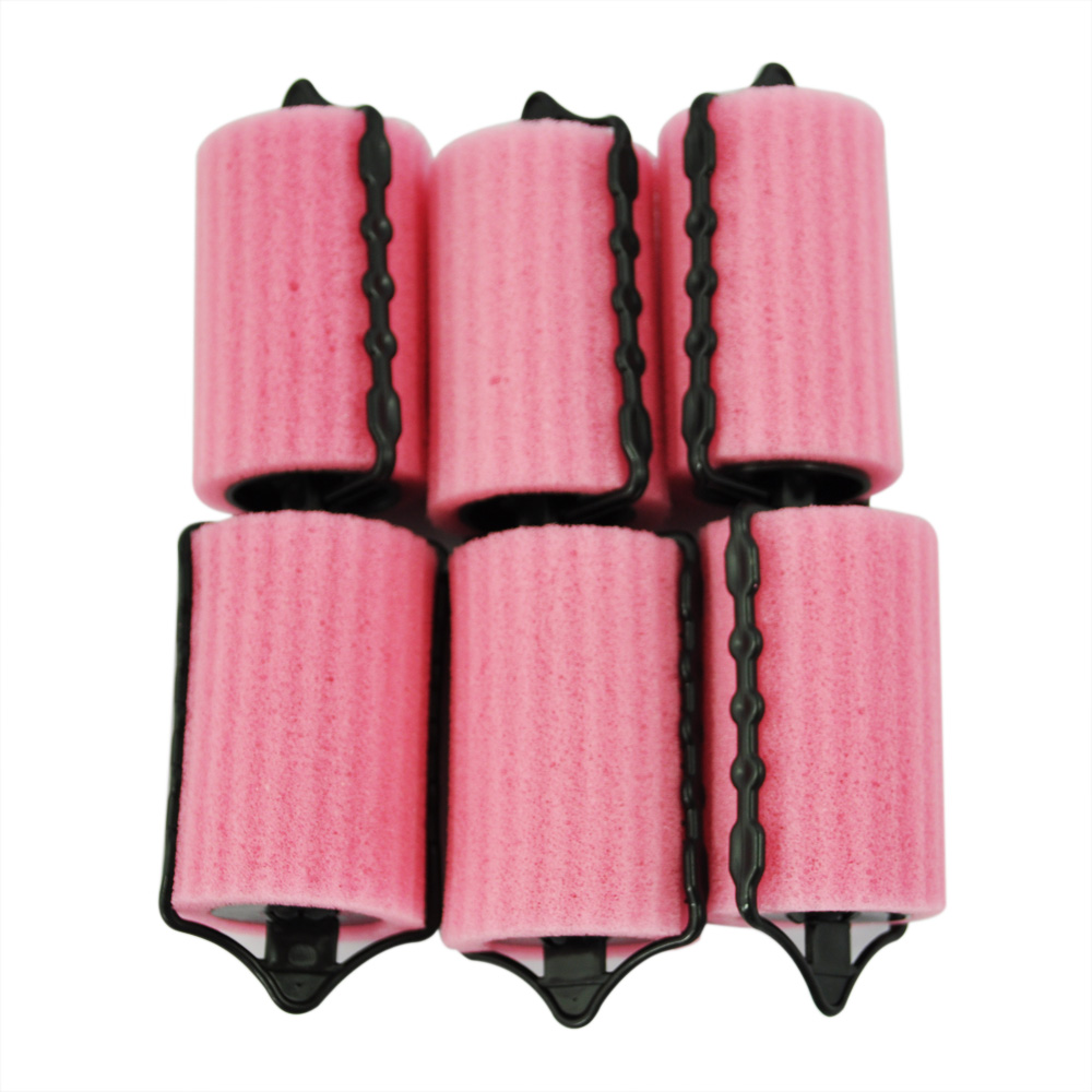 6 PCS Magic Hair Care Roller Style Sponge Curlers For Girl Ladies Pink Color Hair Styling Tool Curler Maker