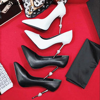 2019 Hot Chic Black White Red Leather Suede Women Pumps Runway Metal Heel Pointed Toe Slip On Shoes Woman