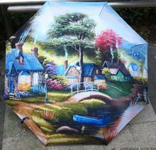 2015 heißer verkauf ölmalerei regenschirm landschaftsmalerei sonne und regen regenschirm UV anti kostenloser versand