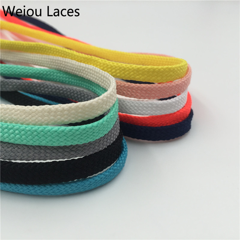 Weiou 7mm Flat Tubular Shoelace Styles Athletic Sports Sneakers Bootlace Multi Color Polyester Shoestring For Sneakers Boots