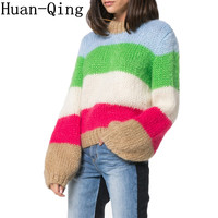 Pull Femme Soft Rainbow Pullovers Sweaters Winter Women Sweater Jumper Knitted Clothes Lantern Sleeve Striped Oversized Sweater