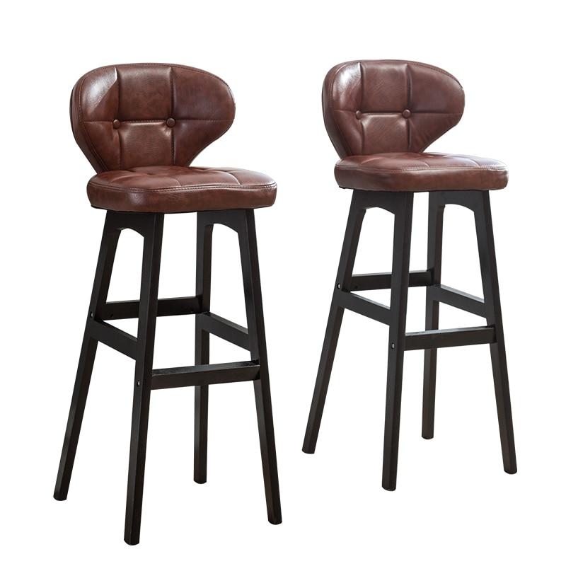 Luxury Leather Bar Chair Wood Stool