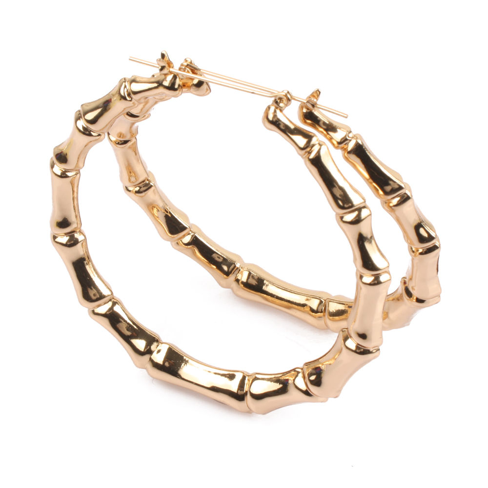 Women Hoop Earrings Basketball Wives Earrings Large Gold Color Big Hoop  Earring Bamboo Hoopearring Er1190