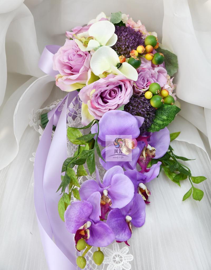 2018 Waterfall Style Handmade Wedding Bridal Bouquet Purple