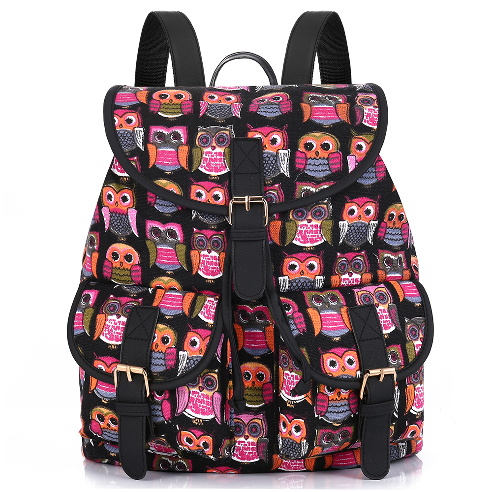 Sansarya New Aztec Owl Printing Vintage Canvas Backpack Women Mochila Feminina Escolar Bagpack Sac A Dos Drawstring Bag