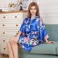 Top Selling Blue Women's Kimono Short Robe Bathgown Sleepwear Rayou Bath Gown Mini Nightgown Mujer Pijama One Size Mys009