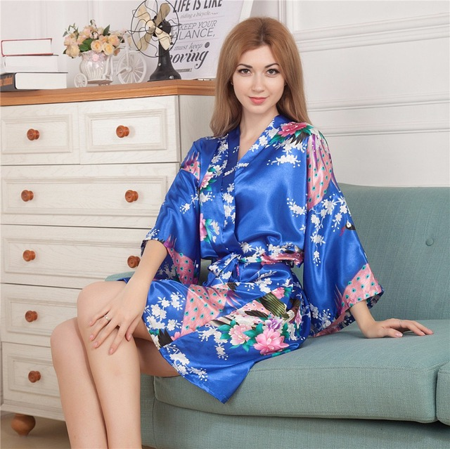 Top Selling Blue Women's Kimono Short Robe Bathgown Sleepwear Rayou Bath Gown Mini Nightgown Mujer Pijama One Size Mys009