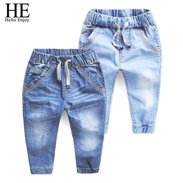 HE Hello Enjoy Девушки джинсы брюки весна Осень 2017 детская одежда джинсы синие брюки повседневные брюки Детские Брюки