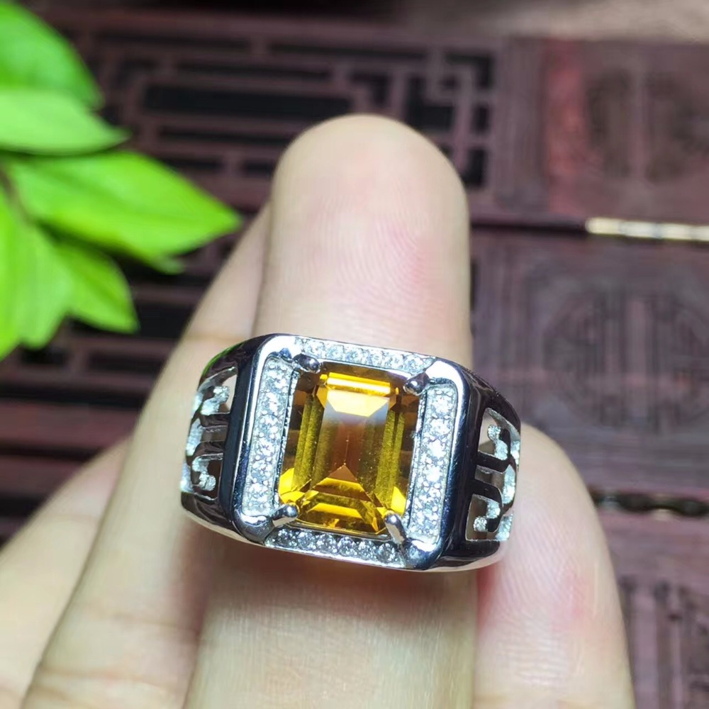 Natural citrine men s ring beautiful color atmosphere hollow craft 925 silver