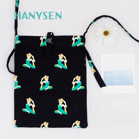 2017 New Arrival Casual Canvas Shoulder Bag For Women Candy Colors Cartoon Printing Crossbody Bags For