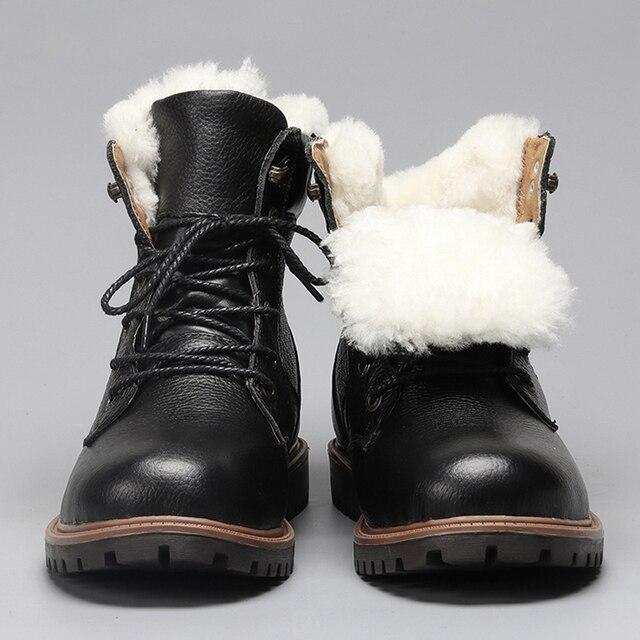 Bottes d'hiver en laine naturelle pleine fleur en cuir de mouton fourrure Hommes à la main hiver bottes de neige marron 49 ZxXera