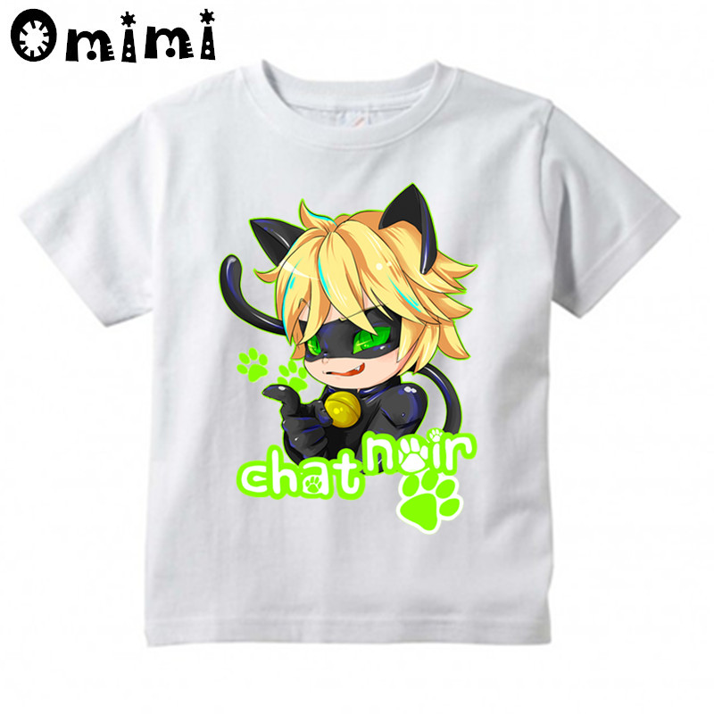 Boys/Girls Chat Noir Ladybug Cartoon Design T Shirt Kids Cute Casual Tops Childrens Summ ...