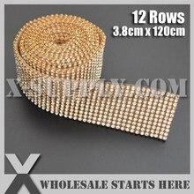 3mm 12 Rows Metal Rhinestone Mesh Trim Crystal Rhinestone in Gold Base with  Back Glue for Bridal Dress 1a85d968b869