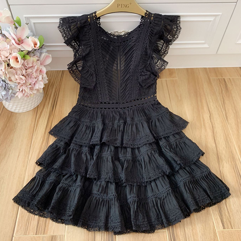 Red RoosaRosee Runway Women Sexy V Neck Short Butterfly Sleeve Elegant Holiday Black Mini Cake Dresses