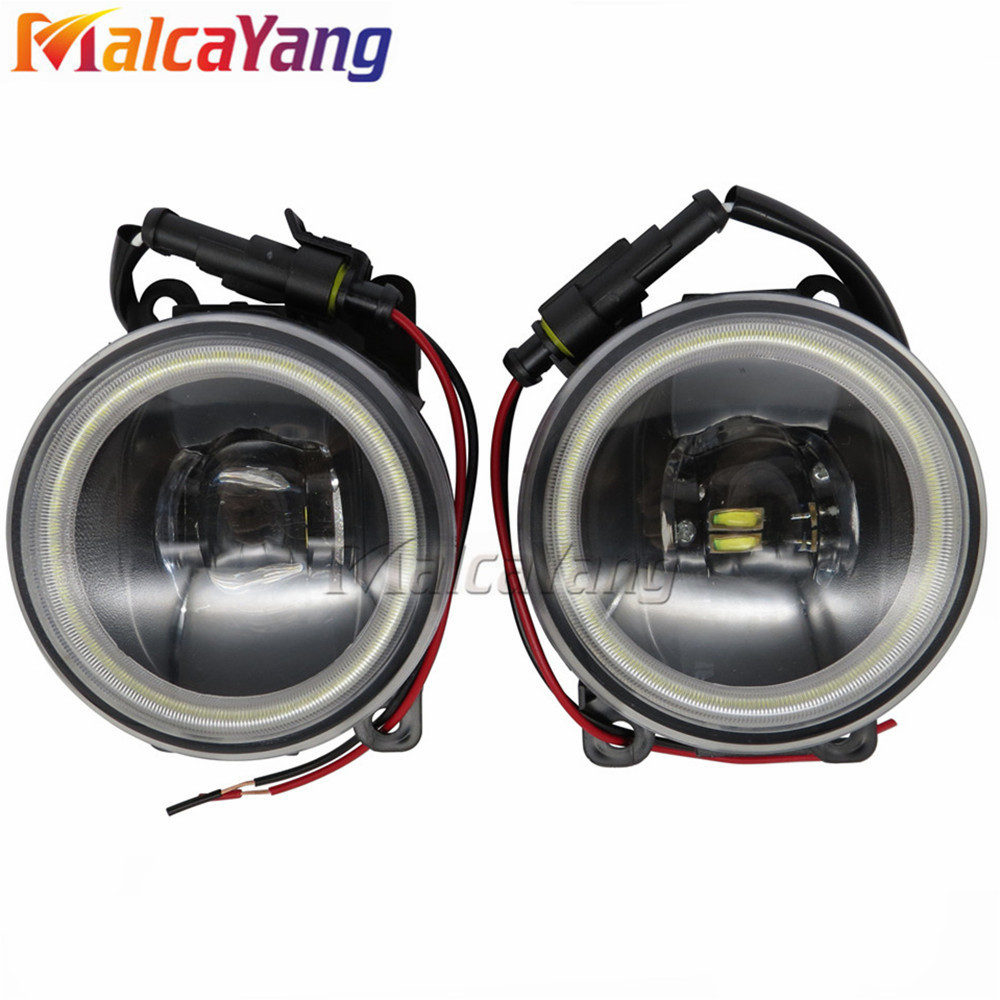 2pcs/set front bumper LED fog Lights Angel Eyes fog lamps For Mitsubishi Pajero 4/IV Van V80 V90 Box 07-15 Car styling for mitsubishi l200 outlander 2 pajero 4 grandis 2003 2015 car styling angel eyes drl led fog lights 9cm spotlight ocb lens
