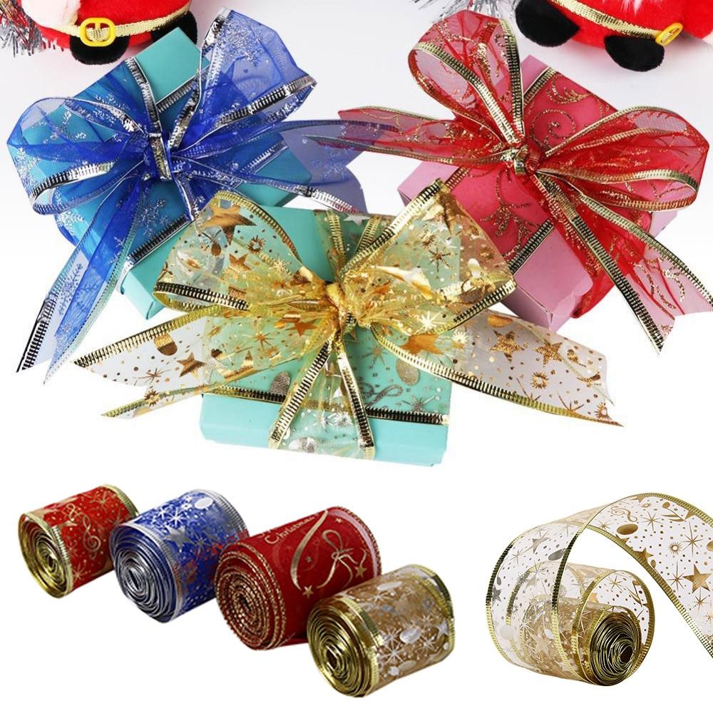 2M Christmas Ribbons Glitter Ribbons Holiday Decor Xmas Birthday Gift Wrapping