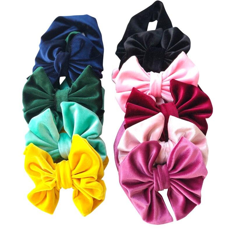 Hair Style Funky Winter Big Hair Bow Velvet Infantile Elastic Headband 2019 DIY Hair Accessories Headwrap For Kids Girl Headwear