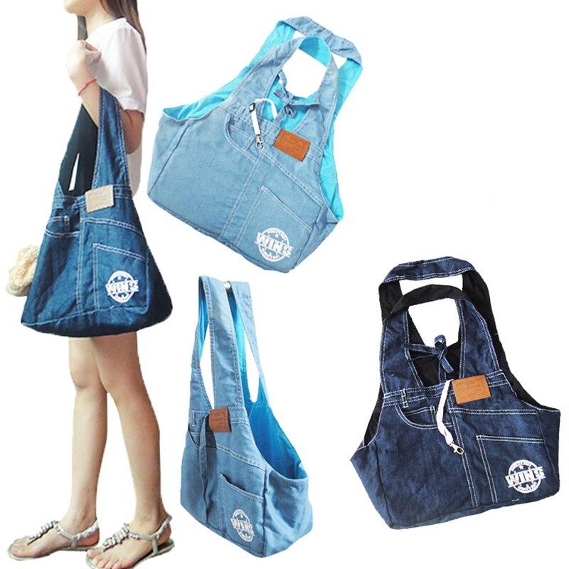 Fashion designer jeans dog carrier bags Pet Sling BackBag Pet Dog Cat Puppy Carrier Travel Tote Shoulder Bag fit small dog cat