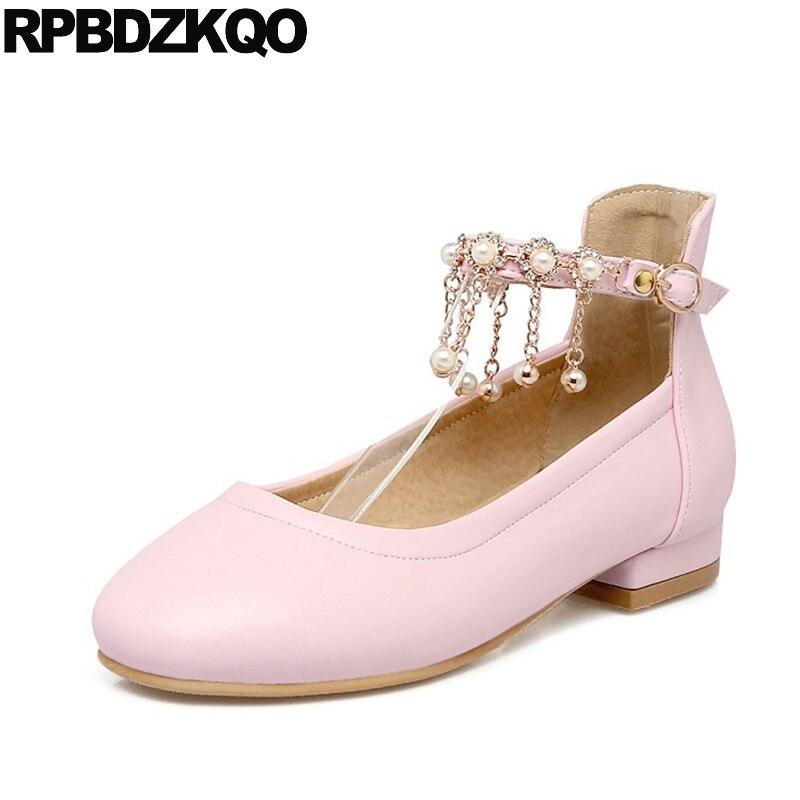 Grande taille appartements personnalisés japonais perle cheville sangle sans lacet rose femmes 2017 diamant métal dames belles chaussures bout rond goutte